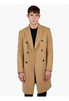 Melindagloss Camel Double-breasted Wool Coat in Beige for Men