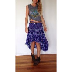 Vintage Indian Gauze Maxi Skirt Hi Low Hem ($70) ❤ liked on Polyvore
