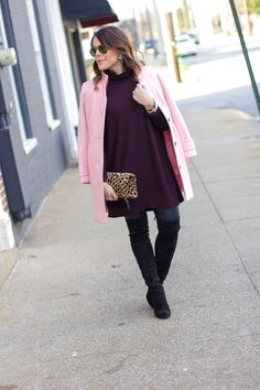 Glitter and Gingham: pink & plum: Clare V. leopard clutch, over the knee boots, leather leggings