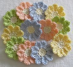 Pastel Crochet Flower Appliques set of 12 handmade craft