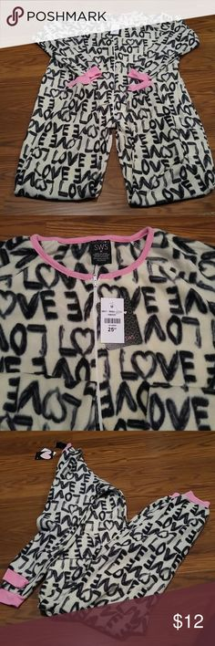 Price Drop** One Piece PJ's** Heart & Love**NWT Zipper down the front.... Pockets on each side.....100% Polyester..... Great ready for the winter... Intimates & Sleepwear Pajamas