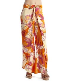 Orange & Taupe Floral Palazzo Pants - Women by Blue Plate #zulilyfinds
