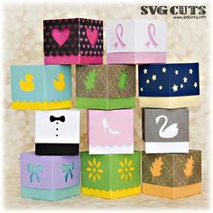 Boxes and Bags : SVG Files for Cricut, Silhouette, Sizzix, and Sure Cuts A Lot Gift Boxes With Lids, Rena, Bachelorette Party Favors, Favor Boxes, Kit, Svg Cuts, Svg Files For Cricut, Birthday Cards, Paper Crafts