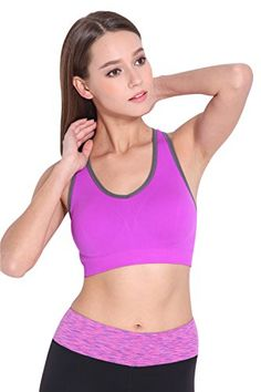 2293fb318d Bamos Womens Purple Absolute Workout Freedom Seamless Sport Bra For YogaM      See this