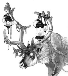 Art of Devin Elle Kurtz Animal Sketches, Art Drawings Sketches, Animal Drawings, Cute Drawings, Wolf Drawings, Creature Drawings, Mythical Creatures Art, Ink Art, Cute Art