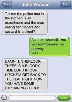 WhoLock text--- The thing that's amuse me about this is that John know what a Time Lord is and care about Sherlock explaining why more then that there's an alien in their kitchen.