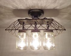 Mason Jar FLUSH MOUNT Ceiling Light 3-Lighting by by LampGoods