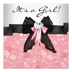 Pink Rose Pink Black Baby Girl Shower Custom Invitation