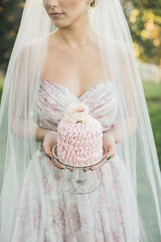 little pink ruffled wedding cake