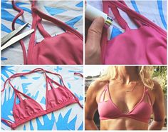 This is an easy way to give a plain and tired bikini's style an update. Take an old bikini top, make cut-out patterns along the top, cut, and then seal with fabric glue. It's that simple!