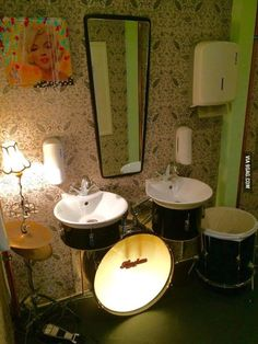 Used the old drum kit for the bathroom