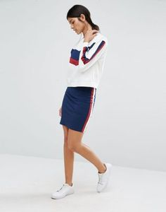 River Island Red Stripe Jersey Skirt