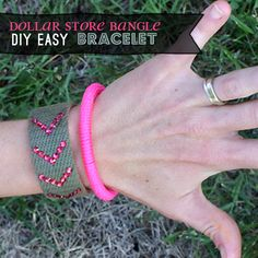 It has been a minute since I made a bracelet to share with you, so here is a neon bangle bracelet for you to make. This project is all of the things I love; easy, fast, dollar store craft (way cheap). I got the bangles at the Dollar Tree, 4 in a pack for $1. The pink neon cord is mason line