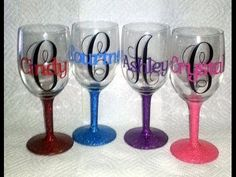 This video will show you how to do glass etching with the Silhouette Cameo machine. Glass etching allows you to use the silhouette america products to person. Monogram Wine Glasses, Glitter Wine Glasses, Diy Wine Glasses, Decorated Wine Glasses, Personalized Wine Glasses, Painted Wine Glasses, Birthday Wine Glasses, Custom Wine Glasses, Personalized Gifts
