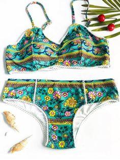 81f413ce09e49 Trendy Spaghetti Strap Floral Print Bikini For Women Strap Bikini, Bandeau  Bikini, Bikini Swimwear