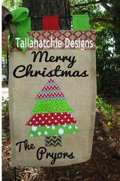 Christmas Garden Flag Burlap Garden Flag by TallahatchieDesigns