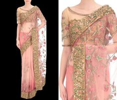 Looking for latest blouse designs to try with net sarees? Check out 10 must try designer blouse patterns that will look gorgeous on sheer sarees. Blouse Back Neck Designs, Netted Blouse Designs, Saree Blouse Designs, Dress Designs, Net Saree Designs, Net Saree Blouse, Indian Outfits, Indian Gowns, Indian Sarees