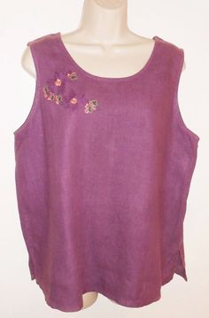 Hot Cotton 1X Linen Top Embroidered Purple Sleeveless Plus #HotCotton #Blouse