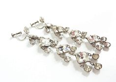 Vintage Deco Crystal Earrings from the 1920s in Clear Bridal
