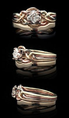 Guinevere diamond puzzle ring in four colors of 14K gold with 2mm 14K yellow gold shadow band. www.crystalrealm.com