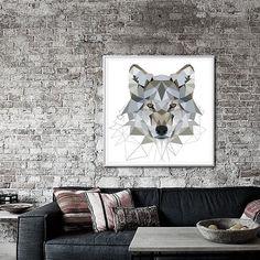 Grey Wolf art print Geometric Wolf art  art print Art by villavera