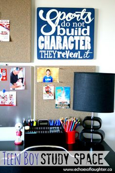Teen Boy Study Space-a makeover for a boy who is entering junior high that is both FUN & functional!