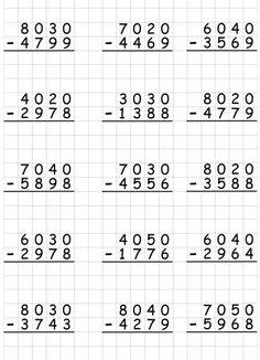 4th Grade Math Worksheets, Printable Math Worksheets, Homeschool Math, Montessori Math, Math Drills, Math Subtraction, Fourth Grade Math, Math Addition, Math Words