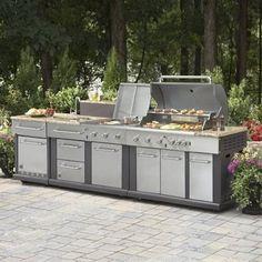 Master Forge Modular Outdoor Kitchen Set  Modular Outdoor Kitchen SetIncludes:(1) Modular 4-Burner Liquid Propane Gas Grill(1) Modular Outdoor Kitchen