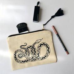 Snake make-up bag 100% cotton with original by AstarteHandmade