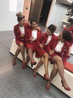Virgin Atlantic, Girls Uniforms, Cabin Crew, Sexy Stockings, Flight Attendant, These Girls, Sexy Legs, Girl Fashion, Samantha Jones