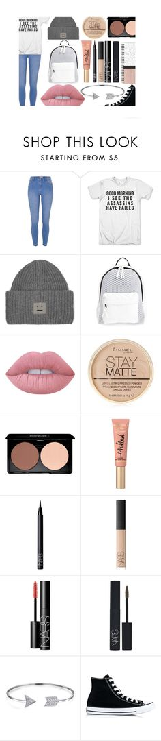 """Untitled #321"" by roxy-13 ❤ liked on Polyvore featuring River Island, Acne Studios, Poverty Flats, Lime Crime, Rimmel, Too Faced Cosmetics, NARS Cosmetics, Bling Jewelry and Converse"