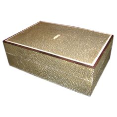 Art Deco Shagreen Box  France  circa 1930's  A fine small shagreen jewelry, card or cigar box with inlaid mother of pearl along the inside edge, and ivory on the outside edge