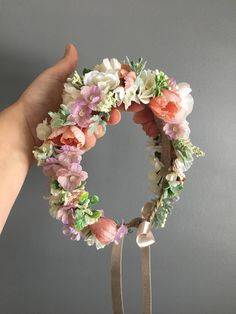 crown headband Tieback Halo Flower Crown with Pinks and Pastels with greenery accent. Flowers and greenery are mounted on Natural Jute rope covered wire. The flowers are backed with fel Baby Flower Crown, Flower Crown Headband, Wedding Headband, Floral Crown, Flower Headbands, Diy Flowers, Flowers In Hair, Wedding Flowers, Newborn Crown