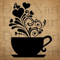 COFFEE CUP with Hearts & Swirls - 12 x 12 - Mother's Day - Valentine's Day - 7 mil Mylar STENCIL for Burlap Pillows / Wood Signs