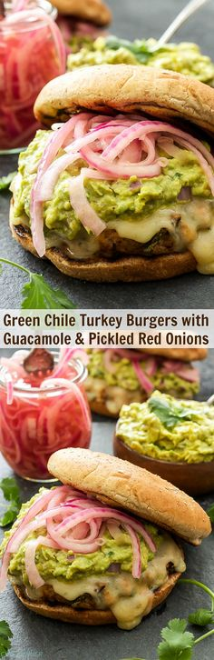 Green Chile Turkey Burgers with Guacamole and Pickled Red Onions  These juicy turkey burgers are packed with Southwest flavor and perfect for grilling this spring or summer!