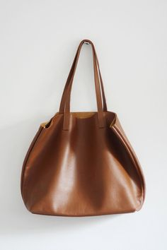 44a1bb8750d0 LILA Large Cognac Brown Leather Tote Bag by MISHKAbags on Etsy Black Leather  Tote Bag