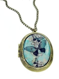 Blue Butterfly Cameo Locket Necklace: Amazon.co.uk: Jewellery