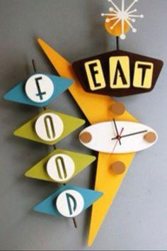 Food  Eat   mid century fun Clock