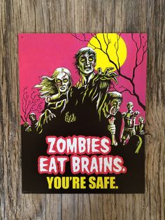 Vintage style tin metal sign // zombies eat brains // retro nostalgic wall art // monster movie poster funny teen gift // hot pink graveyard