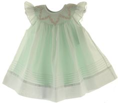 Willbeth Infant Girls White & Mint Smocked Angel Bishop Dress - Hiccups Childrens Boutique