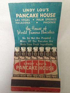 Vtg Feature Matchbook Lindy Lou's Pancake House California Nevada | eBay