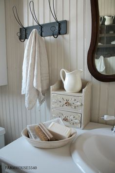 So here it is...our farmhouse powder room!!!                    Even though this room was tiny it seemed to take forever to complete (actua...