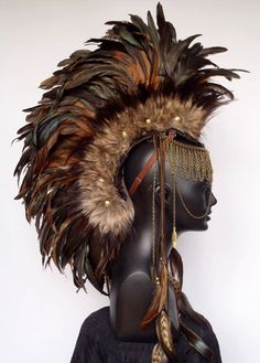 Made to Order Midsize Warrior Feather Mohawk with Horn Option Boho Gypsy, Large Feathers, Fascinator, Feather Headpiece, Headgear, Costume Design, Wearable Art, Cosplay, Hats