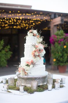 Cake! http://www.stylemepretty.com/kansas-weddings/2015/01/26/elegant-kansas-garden-wedding-at-botanica/   Photography: Jackie Cooper - http://jackiecooperphoto.com/