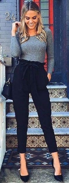 #summer #latest #trends   Grey Knit + Black Pants