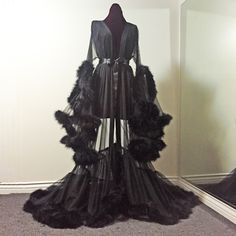 Image of Sheer Black Marabou Dressing Gown (pre-order!)