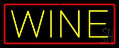 Wine Neon Sign with Red Border 13 Tall x 32 Wide x 3 Deep, is 100% Handcrafted with Real Glass Tube Neon Sign. !!! Made in USA !!!  Colors on the sign are Red and Yellow. Wine Neon Sign with Red Border is high impact, eye catching, real glass tube neon sign. This characteristic glow can attract customers like nothing else, virtually burning your identity into the minds of potential and future customers.