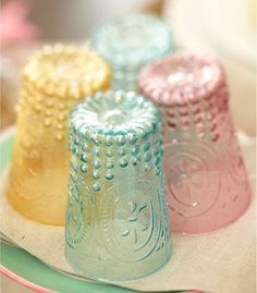 These are being pinned as depression glass... BUT.....They are really new plastic tumblers made by Baci Milano