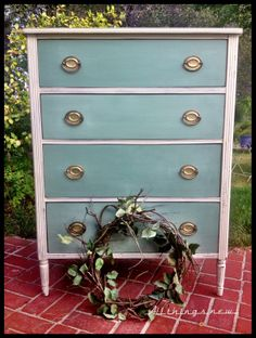 Federal (Hepplewhite) style vintage dresser updated with Annie Sloan Chalk Paint in Old White and a French Blue on the drawers. All things new...