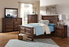 Amish Brisbane Five Piece Bedroom Set A complete set of Amish made bedroom furniture like the Brisbane transforms a bedroom suite into something warm, cozy and exceptional. Customize by having this set built in your choice of wood and stain. American made solid wood furniture from DutchCrafters. #bedroomset #bedroomfurniture #woodbedroomfurniture #custombedroom
